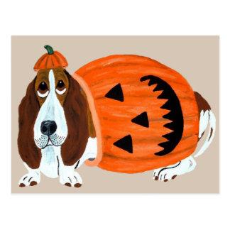 Basset In Pumpkin Suit Postcard