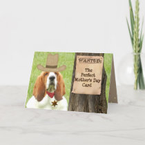 """Basset """"Mother's Day"""" Card with Cowboy Theme"""