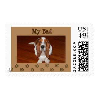 "Basset on ""U.S. Postage Stamp"" ""My Bad"" logo"