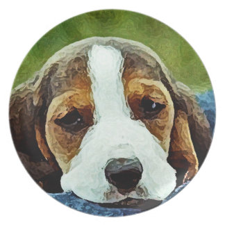 Basset Puppy Resting - Brown Black and White Melamine Plate