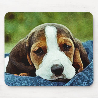 Basset Puppy Resting - Brown Black and White Mousepads