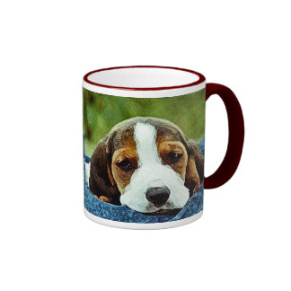 Basset Puppy Resting - Brown Black and White Ringer Coffee Mug