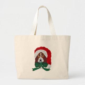 Basset Puppy Santa Canvas Bag