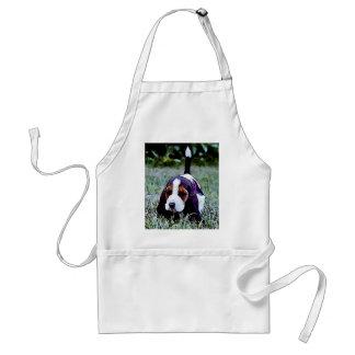Basset Puppy Walking - Black Brown White Adult Apron
