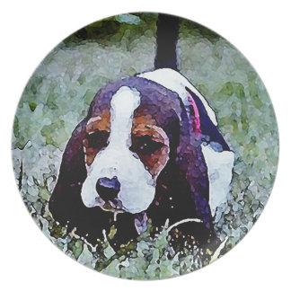Basset Puppy Walking - Black Brown White Dinner Plate