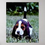 Basset Puppy Walking - Black Brown White Print