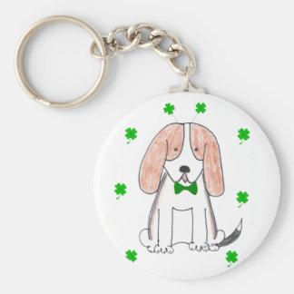 Basset Saint Patricks Day Keychain