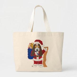 Basset Santa Checking List Of Good Bassets Canvas Bags