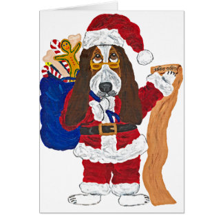 Basset Santa Checking List Of Good Bassets Greeting Card