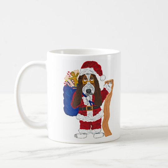 Basset Santa Checking List Of Good Bassets Coffee Mug