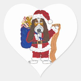 Basset Santa Checking List Of Good Bassets Heart Sticker
