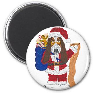 Basset Santa Checking List Of Good Bassets Magnet