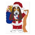 Basset Santa Checking List Of Good Bassets Post Card