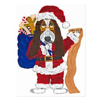 Basset Santa Checking List Of Good Bassets Postcard