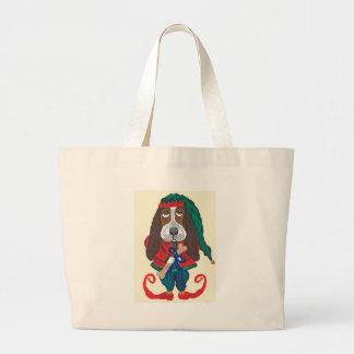Basset Santa's Helper Christmas Elf Canvas Bags