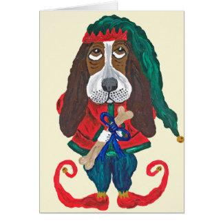 Basset Santa's Helper Christmas Elf Card