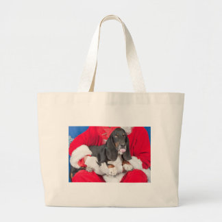 Basset Sticking Tongue Out on Santa's Lap Bags