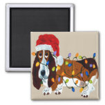 Basset Tangled In Christmas Lights 2 Inch Square Magnet