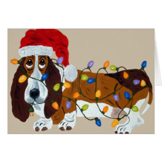 Basset Tangled In Christmas Lights Card