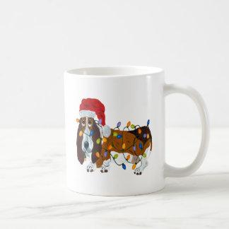 Basset Tangled In Christmas Lights Coffee Mug