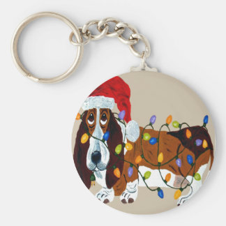 Basset Tangled In Christmas Lights Keychain