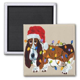 Basset Tangled In Christmas Lights Magnet