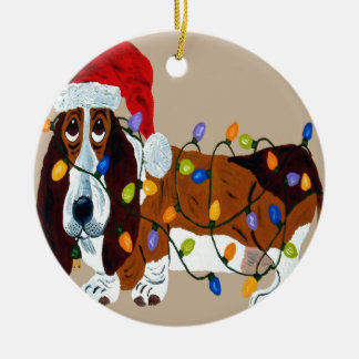 Basset Tangled In Christmas Lights Double-Sided Ceramic Round Christmas Ornament