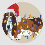 Basset Tangled In Christmas Lights Round Stickers