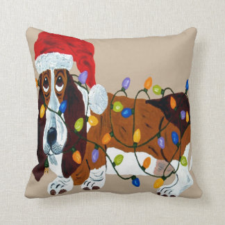 Basset Tangled In Christmas Lights Throw Pillow