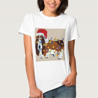 Basset Tangled In Christmas Lights Tshirts