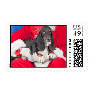 Basset with Santa Tongue Sticking Out Postage Stamp