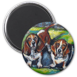 Bassets Murphy & Maddy 2 Inch Round Magnet
