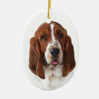 """Bassett Hound"" Double-Sided Oval Ceramic Christmas Ornament"
