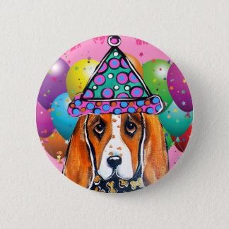 Bassett Hound  Party Dog Pinback Button