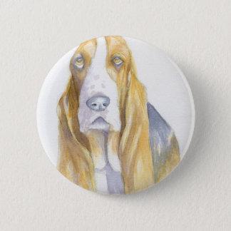 Bassett hound pinback button
