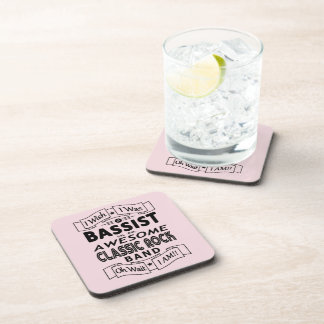 BASSIST awesome classic rock band (blk) Beverage Coaster