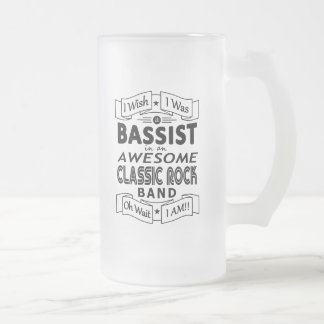 BASSIST awesome classic rock band (blk) Frosted Glass Beer Mug