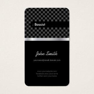 Bassist - Elegant Black Checkered Business Card