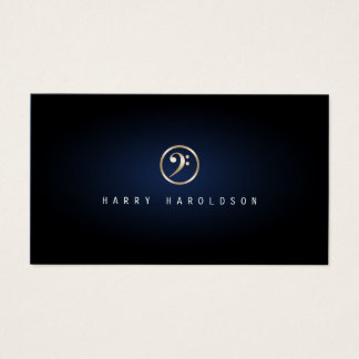 Bassist Elegant Gold Bass Clef Icon Blue Glow Business Card