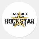 Bassist Rock Star by Night Round Sticker