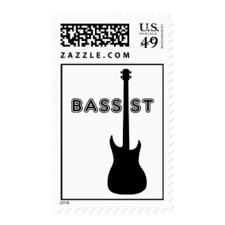 Bassist Silhouette Postage Stamp