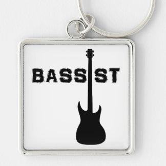 Bassist Silver-Colored Square Keychain