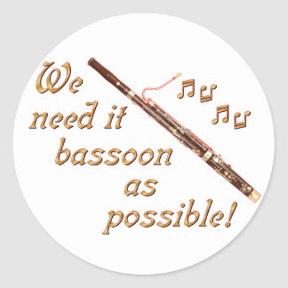 Bassoon as Possible Classic Round Sticker