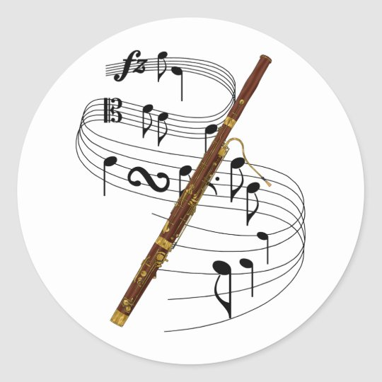Bassoon Classic Round Sticker