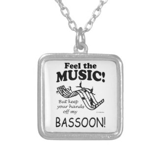 Bassoon Feel The Music Square Pendant Necklace