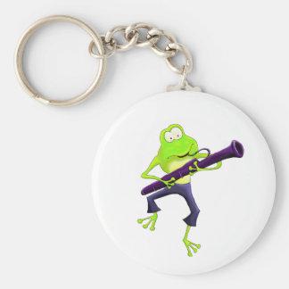 Bassoon Frog Basic Round Button Keychain