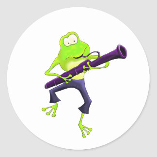 Bassoon Frog Classic Round Sticker