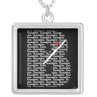Bassoon Heart B Square Pendant Necklace