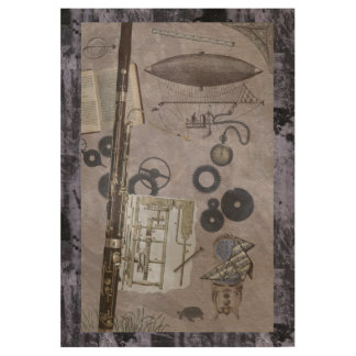 Bassoon in Old-Time Steampunk Fantasy Scene Wood Poster