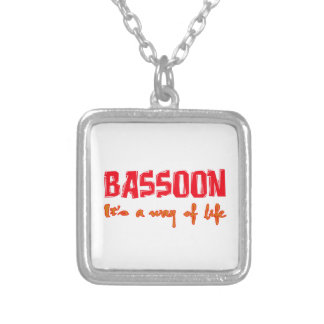 Bassoon It's a way of life Square Pendant Necklace